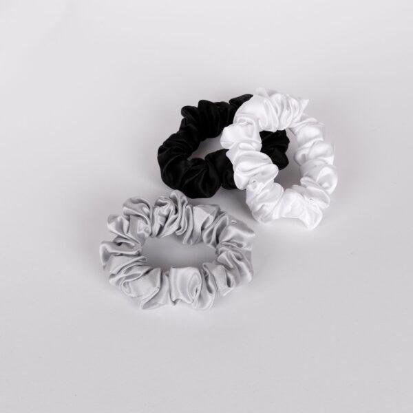 SCRUNCHIES - WHITE, BLACK & SILVER_ 1